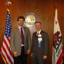Nick Pappas, legislative aide to State Assemblyman Nathan Fletcher (R-San Diego), visits with AYHF Client Care Manager Steve Schweitzer during Legislative Day in Sacramento.
