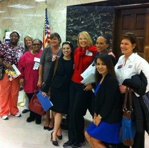 Laurie Edwards-Tate at our State's Capitol with motivated home care colleagues, representatives, and home care aides.