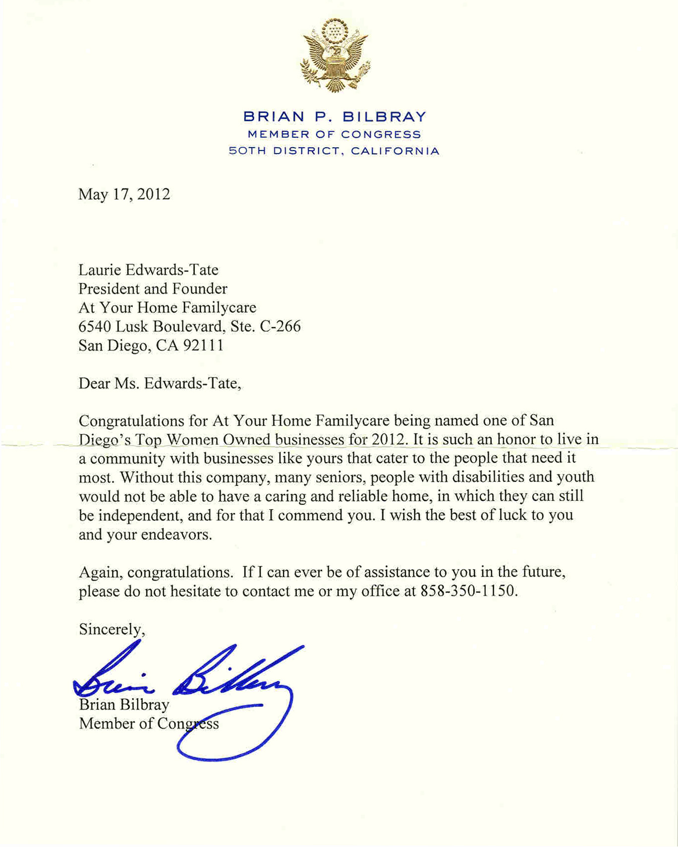 Congressman Brian Bilbray Recognizes At Your Home Familycare on Recognizing Letters