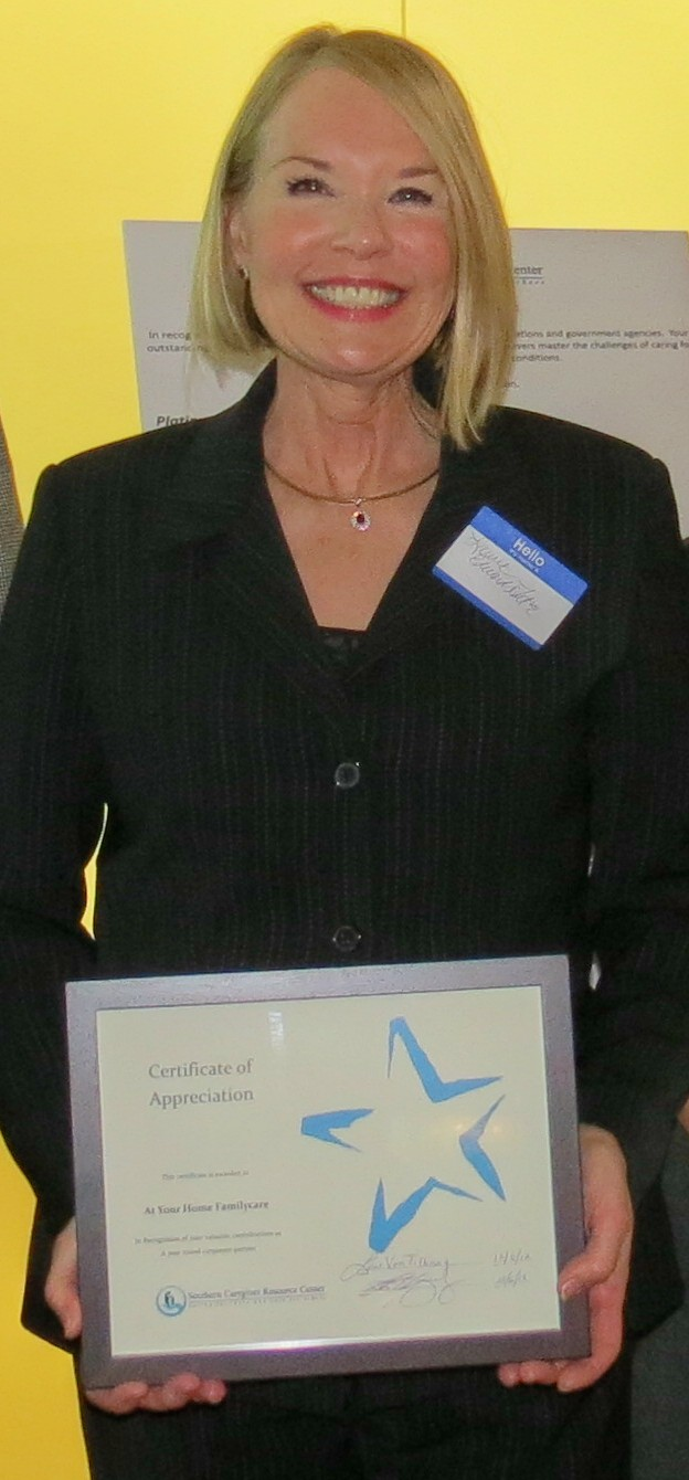 LAURIE EDWARDS-TATE, PRESIDENT AND CEO OF AT YOUR HOME FAMILYCARE SAN DIEGO RECEIVES TWO OUTSTANDING AWARDS FROM SOUTHERN CAREGIVER RESOURCE CENTER