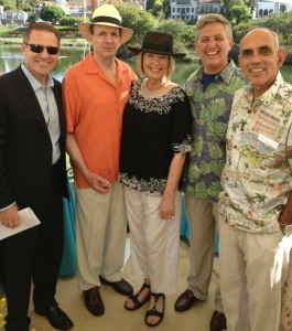 Laurie Edwards-Tate (center); pictured with her husband, Bill Tate (to her left); with San Diego County Board of Supervisor, Dave Roberts, District #3 (to her right)and his guest (Roberts immediate right); Channel 10 News Emcee Steve Atkinson (far left, left of Bill Tate.)