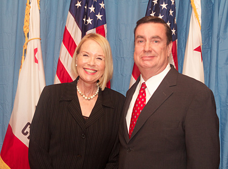 Left: Laurie Edwards-Tate, President and CEO, At Your Home Familycare; Right: California State Senator Joel Anderson