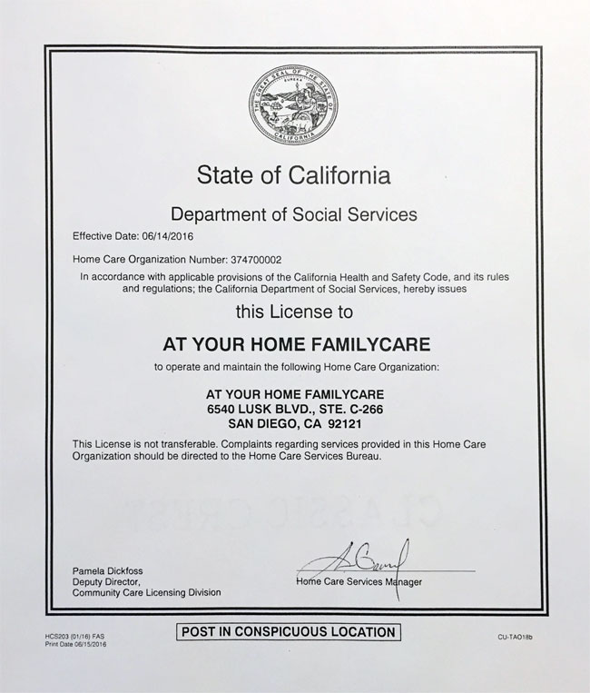 At Your Home Familycare Receives California Full License Status At