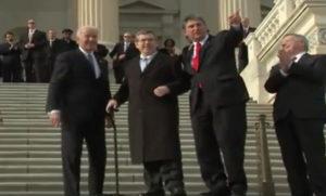 Fmr. U.S. Sen. Mark Steven Kirk resuming his public duties following a stroke (Image: CSPAN video screen shot)
